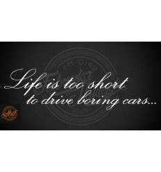 Life is too short to drive boring cars 60 cm